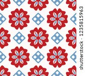 bright folk art daisy quilt all ... | Shutterstock .eps vector #1235815963