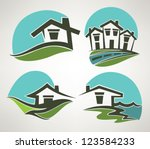 little home in small town ... | Shutterstock .eps vector #123584233