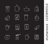 coffee and tea thin line icons... | Shutterstock .eps vector #1235890513