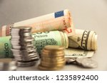 different colorful currencies... | Shutterstock . vector #1235892400