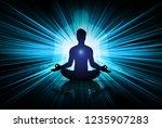 man meditate dark black... | Shutterstock .eps vector #1235907283
