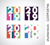 set of 2019 happy new year... | Shutterstock .eps vector #1235918746