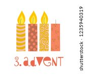 three burning advent candles... | Shutterstock .eps vector #1235940319