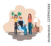 group of people in living room... | Shutterstock .eps vector #1235941666