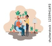 couple using smartphone in the... | Shutterstock .eps vector #1235941693
