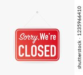 sorry we're closed hanging sign ... | Shutterstock .eps vector #1235966410