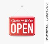 come in we're open hanging sign ... | Shutterstock .eps vector #1235966470