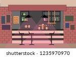 bar counter in pub. vector flat ...   Shutterstock .eps vector #1235970970