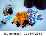 many medicines  pills  tablets  ... | Shutterstock . vector #1235972953