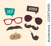 male photo booth props vector | Shutterstock .eps vector #1235976430