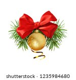 red ribbon bow and christmas... | Shutterstock . vector #1235984680