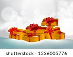gold gift box with ribbon on... | Shutterstock .eps vector #1236005776