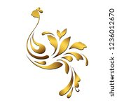 golden floral bird. ornamental... | Shutterstock .eps vector #1236012670