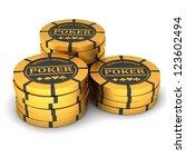 poker chips on a white...   Shutterstock . vector #123602494