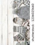warm grey woolen knitwear ... | Shutterstock . vector #1236025660