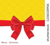 christmas card with red bow.... | Shutterstock . vector #1236028906