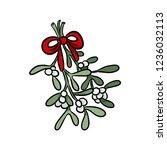 mistletoe hand drawn colorful... | Shutterstock .eps vector #1236032113