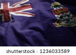cayman islands flag rumpled... | Shutterstock . vector #1236033589