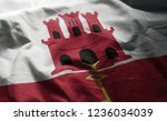 gibraltar flag rumpled close up  | Shutterstock . vector #1236034039
