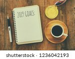 top view 2019 goals list with... | Shutterstock . vector #1236042193