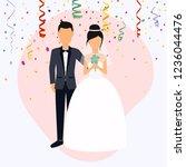 bride and groom. wedding design ... | Shutterstock .eps vector #1236044476
