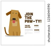 join the paw ty time party... | Shutterstock .eps vector #1236044590