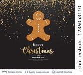 gingerbread man cookie and text ... | Shutterstock .eps vector #1236053110