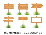 wooden blank board signs spring ... | Shutterstock . vector #1236053473