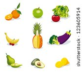 healthy fruits and vegetables... | Shutterstock .eps vector #123605914