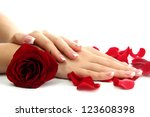 Beautiful Woman Hands With Ros...