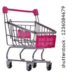 empty grocery trolley isolated... | Shutterstock . vector #1236084679