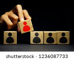 human resources hr. man is... | Shutterstock . vector #1236087733