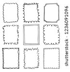 set of hand drawn doodle frames | Shutterstock .eps vector #1236091096