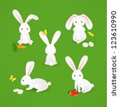 cute bunnies | Shutterstock .eps vector #123610990