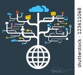 network globe worldwide   vector | Shutterstock .eps vector #123611068