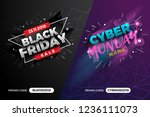 black friday and cyber monday... | Shutterstock .eps vector #1236111073