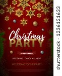 christmas poster with golden... | Shutterstock .eps vector #1236121633