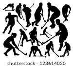 silhouettes of the players in... | Shutterstock .eps vector #123614020