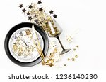 new year table setting. black... | Shutterstock . vector #1236140230