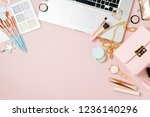 fashion blogger workspace with... | Shutterstock . vector #1236140296