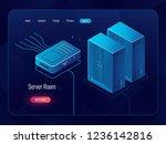server room  datacenter and... | Shutterstock .eps vector #1236142816