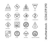 set of 16 traffic signs linear... | Shutterstock .eps vector #1236159190