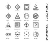 set of 16 traffic signs linear...   Shutterstock .eps vector #1236159250