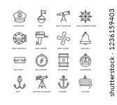 Set Of 16 Nautical Linear Icon...