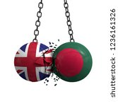 United Kingdom and Bangladesh flag political balls smash into each other. 3D Rendering