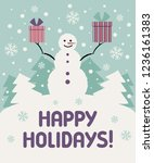 christmas card with a snowman.... | Shutterstock .eps vector #1236161383