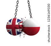 United Kingdom and Poland flag political balls smash into each other. 3D Rendering