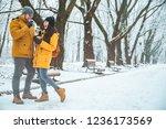 couple walking by snowed city... | Shutterstock . vector #1236173569