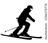 mountain skier speeding down... | Shutterstock .eps vector #1236173776