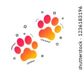 Stock vector paw sign icon dog pets steps symbol colorful geometric shapes gradient paw icon design vector 1236183196